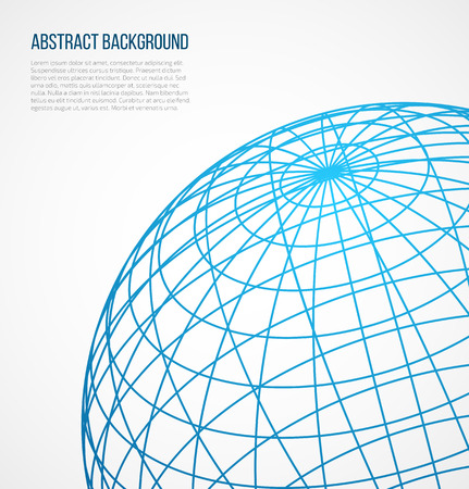 Abstract globe sphere from blue lines on white background. Vector illustration Ilustração