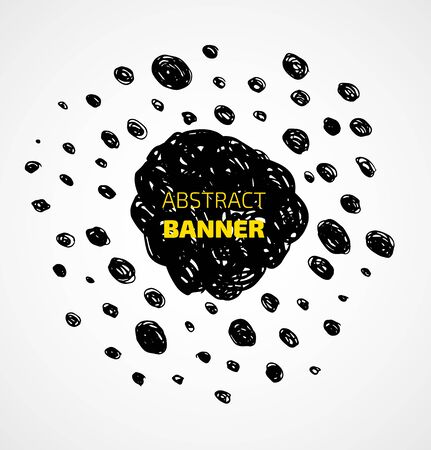 Abstract black scribble dots circle frame banner. Vector illustration