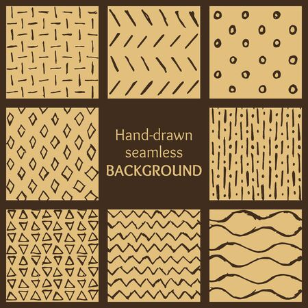 Set of brown hand-drawn hipster sketch seamless patterns background. Vector illustration