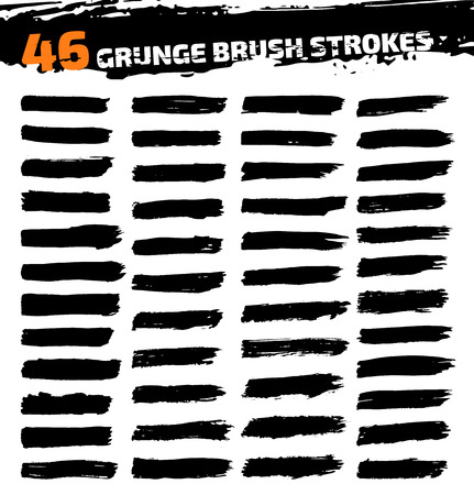 Set of black different grunge brush strokes. Vector illustration