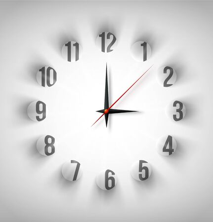 Abstract clock face with white circles with light and shadow. Vector illustration Vector