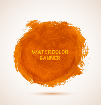 Abstract circle orange watercolor hand-drawn banner. Vector illustration