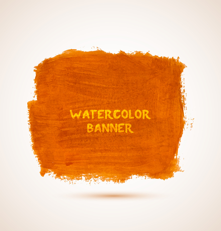 Abstract square orange watercolor hand-drawn banner. Vector illustration Vectores