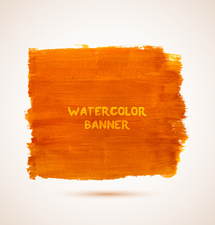 Abstract rectangle orange watercolor hand-drawn banner. Vector illustration