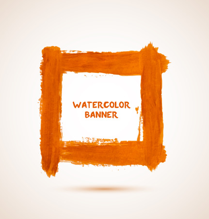 Abstract square orange watercolor hand-drawn frame  banner. Vector illustration