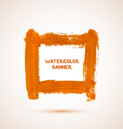 Abstract orange watercolor hand-drawn banner frame. Vector illustration Vectores