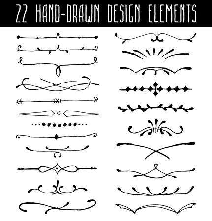 Set of hand-drawn line border dividers and design element. Vector illustrtion