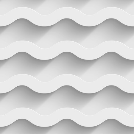 Abstract white paper 3d horizontal waves seamless background.