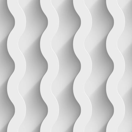 Abstract white paper 3d vertical waves seamless background. Vector illustration Vectores