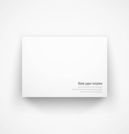 White horizontal paper template mock-up with drop shadow. Vector illustration