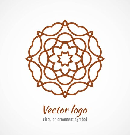 Abstract red outline ornament symbol logo. Vector illustration Vectores
