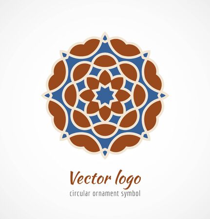 Abstract red and blue asian ornament symbol logo. Vector illustration