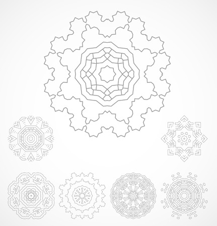 rosetta: Set of geometric outline rosetta ornamet. Vector illustration
