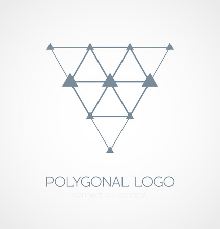 Abstract triangle connection concept icon logo on white background. Vector illustration