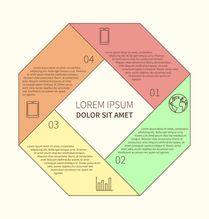 Polygonal flat infographic diagram template for presentation with 4 options. Vector illustration