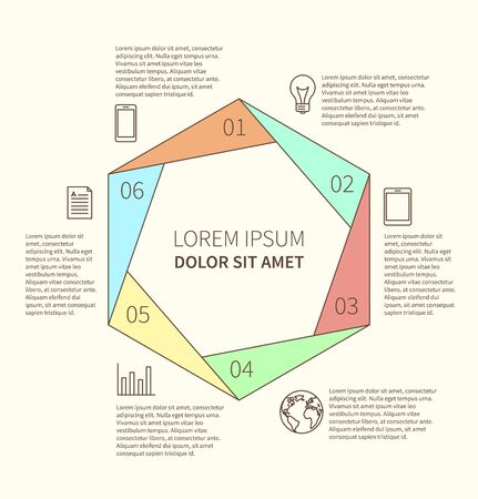 Polygonal flat infographic diagram template for presentation with 6 options. Vector illustration Vectores