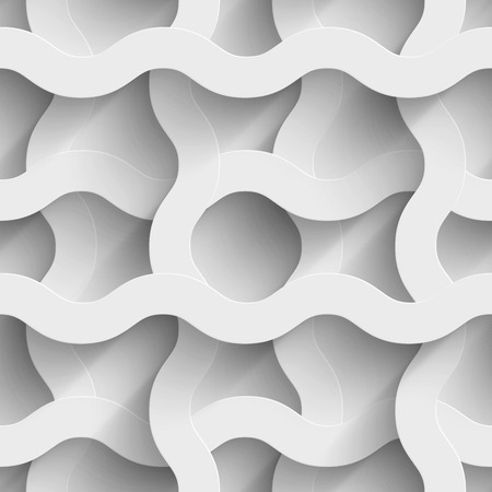 symetry: Abstract white paper waves 3d seamless background. Vector illustration Illustration