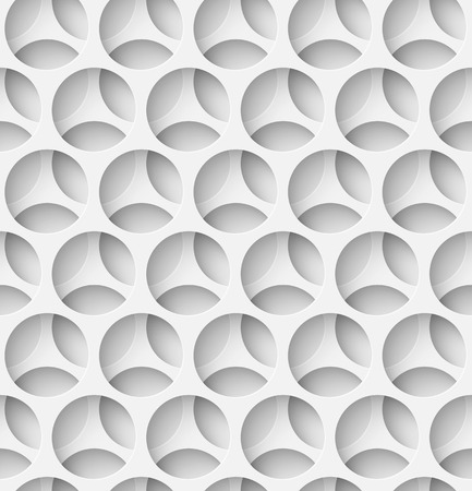 White paper seamless layered circle background with shadow. Vector illustration
