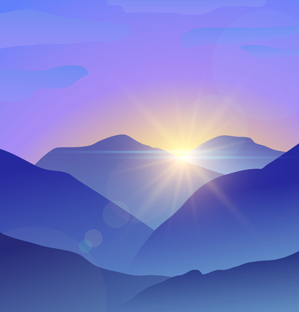 Abstract blue mountains landscape with lens flare nature background. Vector illustration