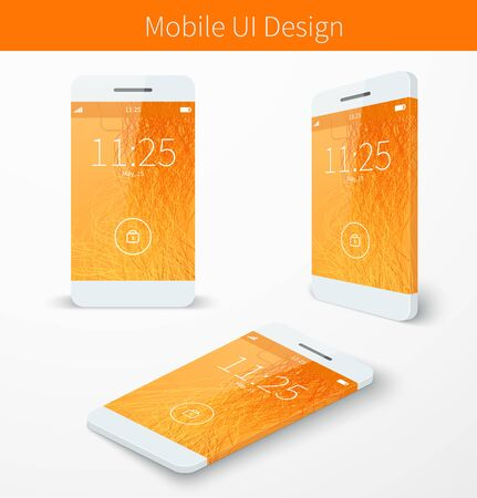 Mobile user application interface concept with orange wallpaper smartphone screen presentation. Vector illustration Vectores