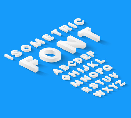 White isometric font alphabet with drop shadow on blue background. Vector illustration
