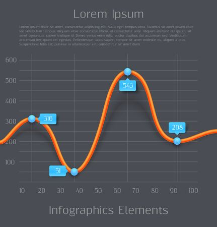 Modern orange 3d business diagram graph infographic elements. Vector illustration