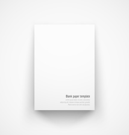 one sheet: White paper template mock-up with drop shadow. Vector illustration