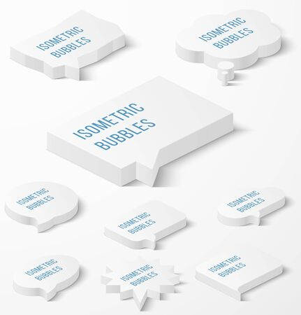 dialog: Set of white isometric bubbles with drop shadow. Vector illustration