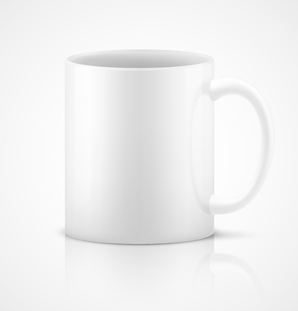 White 3d photorealistic ceramic cup on white background. Vector illustration Vectores