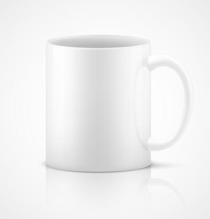 ceramic: Taza de cer�mica blanca fotorrealista 3D sobre fondo blanco. Ilustraci�n vectorial