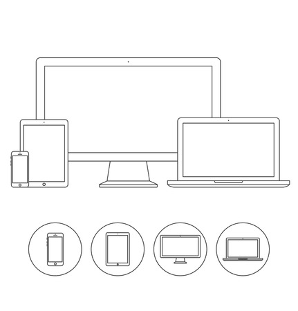 electronic device: Set of display, laptop, tablet and mobile phones electronic device outline icons template. Vector illustration