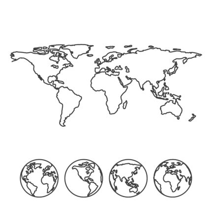 globe world: Gray outline map of the world with globe icons. Vector illustration