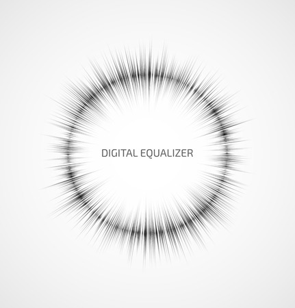 Abstract gray round music equalizer on white background. Vector illustration