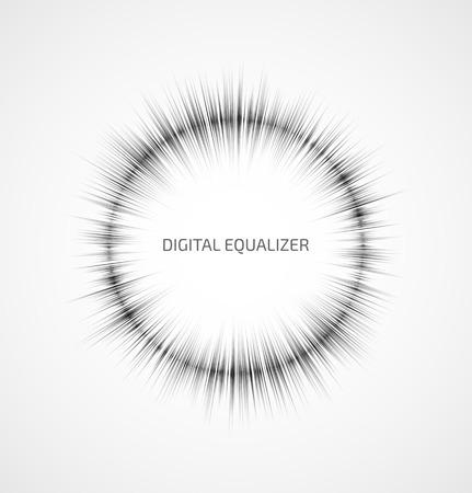 musica electronica: Gris ecualizador de música ronda abstracta sobre fondo blanco. Ilustración vectorial Vectores