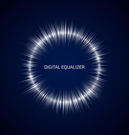 暗い青色の背景に白いラウンド音楽イコライザーを抽象化します。ベクトル図