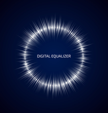 Abstract white round music equalizer on dark blue background. Vector illustration