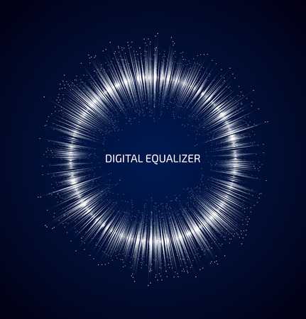 sonido: Blanco ecualizador de m�sica ronda abstracto con los puntos sobre fondo azul oscuro. Ilustraci�n vectorial