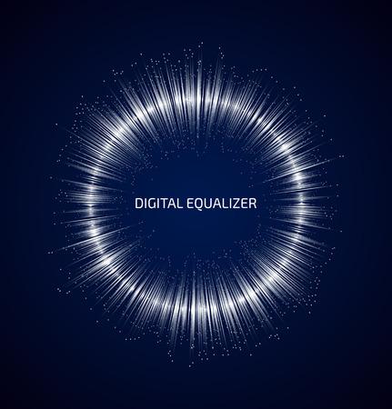 sonido: Blanco ecualizador de música ronda abstracto con los puntos sobre fondo azul oscuro. Ilustración vectorial