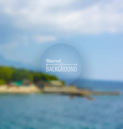 Seaside landscape outdoor blurred background with blue sky and clouds. Vector illustration Vectores