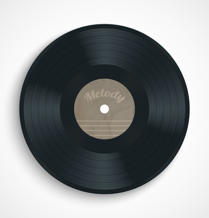 Black vinyl record album disc with blank brown label. Vector illustration