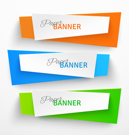 Set of colorful paper origami banners. Vector illustration Illustration