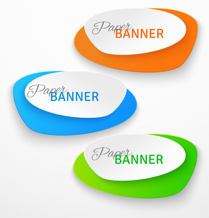 Set of oval colorful paper origami banners. Vector illustration Vectores