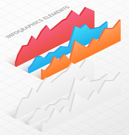 Set of white and colorful isometric graphs. Vector illustration