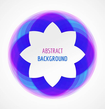 Abstract white floral banner on blue circle background. Vector illustration Vectores