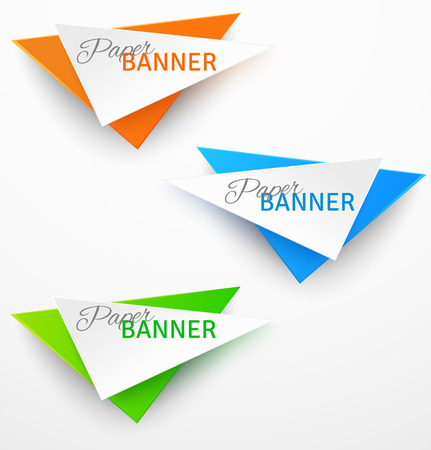 Set of triangular colorful paper origami banners. Vector illustration