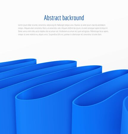Abstract 3d blue paper ribbon background brochure template business presentation. Vector illustration