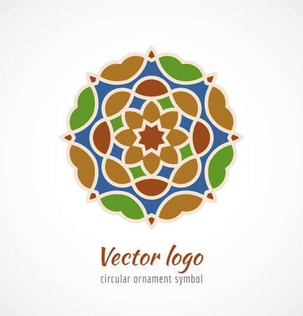 Abstract colorful asian ornament symbol logo. Vector illustration