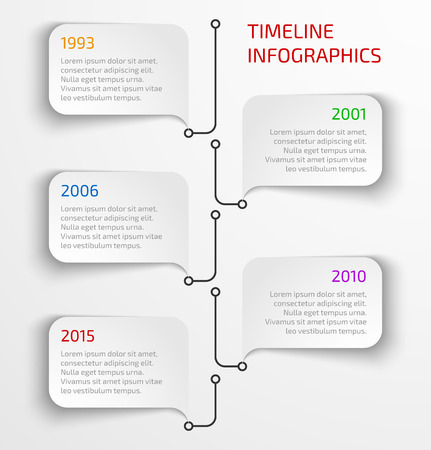 Modern timeline infographic design template with speech bubbles.
