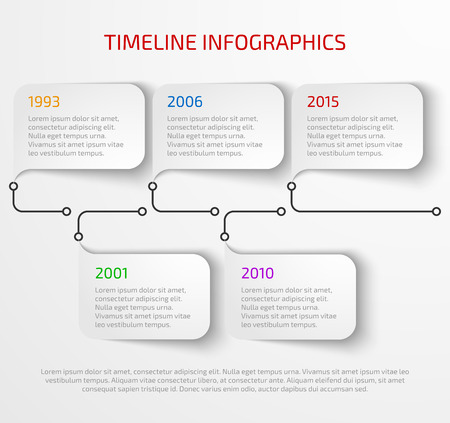 Modern timeline infographic design template with drop shadow. Vectores