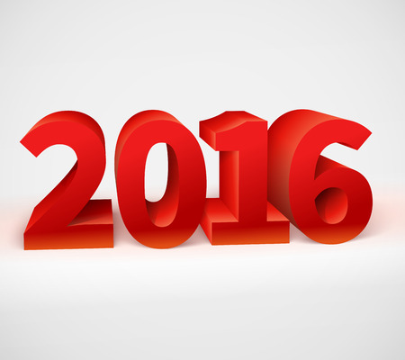 New year 2016 shiny 3d red text.